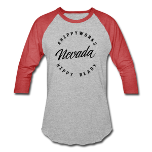 HIPPYWORKS- Nevada Unisex Raglan Tee-Shirt - heather gray/red