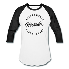 Load image into Gallery viewer, HIPPYWORKS- Nevada Unisex Raglan Tee-Shirt - white/black