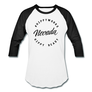 HIPPYWORKS- Nevada Unisex Raglan Tee-Shirt - white/black