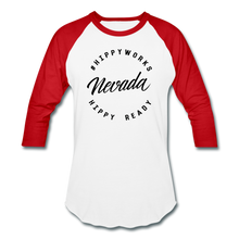 Load image into Gallery viewer, HIPPYWORKS- Nevada Unisex Raglan Tee-Shirt - white/red