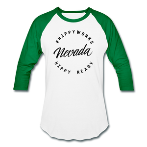 HIPPYWORKS- Nevada Unisex Raglan Tee-Shirt - white/kelly green