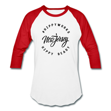 Load image into Gallery viewer, HIPPYWORKS-New Jersey Unisex Raglan Tee-Shirt - white/red