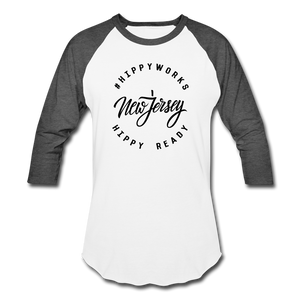 HIPPYWORKS-New Jersey Unisex Raglan Tee-Shirt - white/charcoal