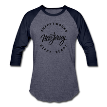 Load image into Gallery viewer, HIPPYWORKS-New Jersey Unisex Raglan Tee-Shirt - heather blue/navy