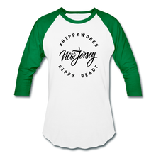 Load image into Gallery viewer, HIPPYWORKS-New Jersey Unisex Raglan Tee-Shirt - white/kelly green