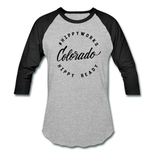 Load image into Gallery viewer, #HIPPYWORKS-Colorado Unisex Raglan Tee-Shirt - heather gray/black