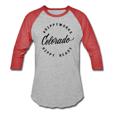 Load image into Gallery viewer, #HIPPYWORKS-Colorado Unisex Raglan Tee-Shirt - heather gray/red