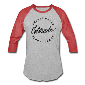 #HIPPYWORKS-Colorado Unisex Raglan Tee-Shirt - heather gray/red