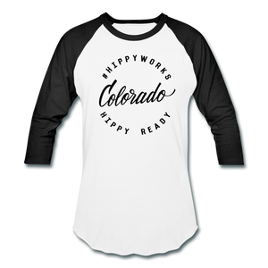 #HIPPYWORKS-Colorado Unisex Raglan Tee-Shirt - white/black