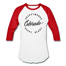 Load image into Gallery viewer, #HIPPYWORKS-Colorado Unisex Raglan Tee-Shirt - white/red