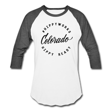 Load image into Gallery viewer, #HIPPYWORKS-Colorado Unisex Raglan Tee-Shirt - white/charcoal