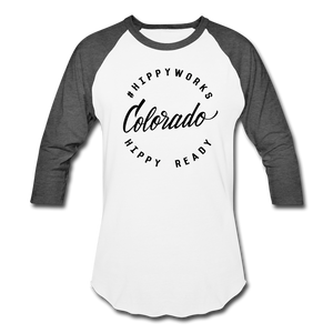 #HIPPYWORKS-Colorado Unisex Raglan Tee-Shirt - white/charcoal