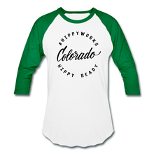 Load image into Gallery viewer, #HIPPYWORKS-Colorado Unisex Raglan Tee-Shirt - white/kelly green