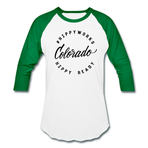 #HIPPYWORKS-Colorado Unisex Raglan Tee-Shirt - white/kelly green
