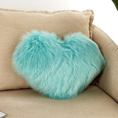 Coussin Coeur Fourrure Turquoise