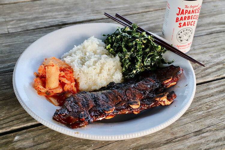 KALBI SHORT RIBS WITH RICE, KALE SALAD, AND KIMCHI
