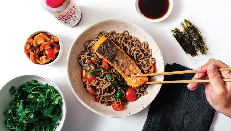 BACHAN'S PAN FRIED SALMON WITH SOBA NOODLES