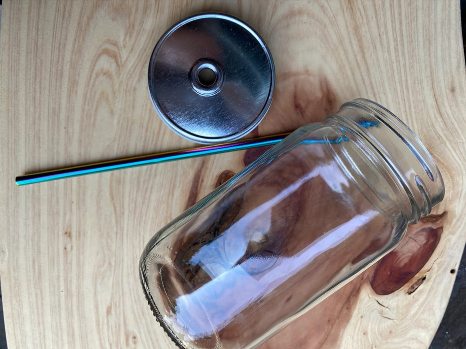 Glass Jar + Lid + Steel Rainbow Straw