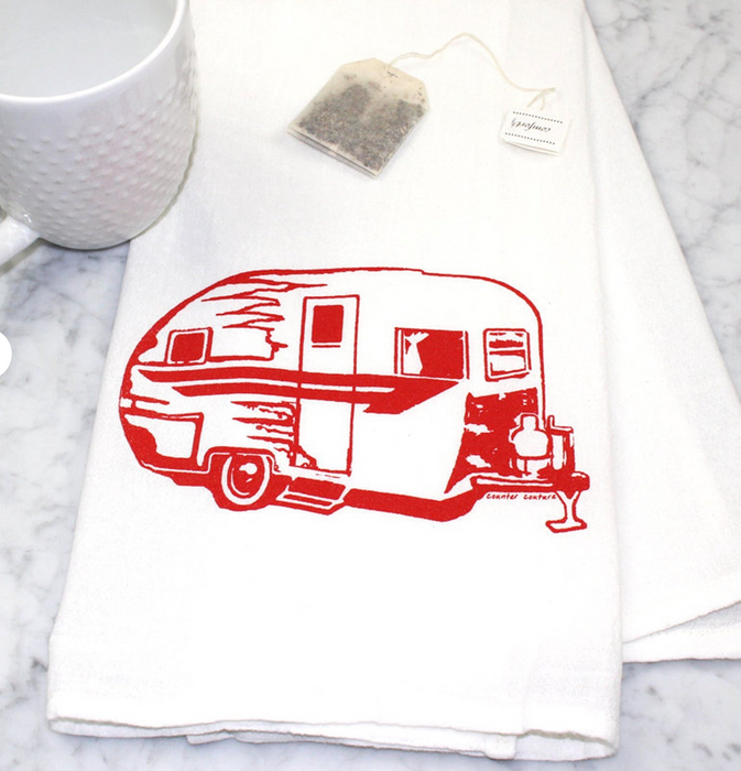 Red Camper Tea Towel