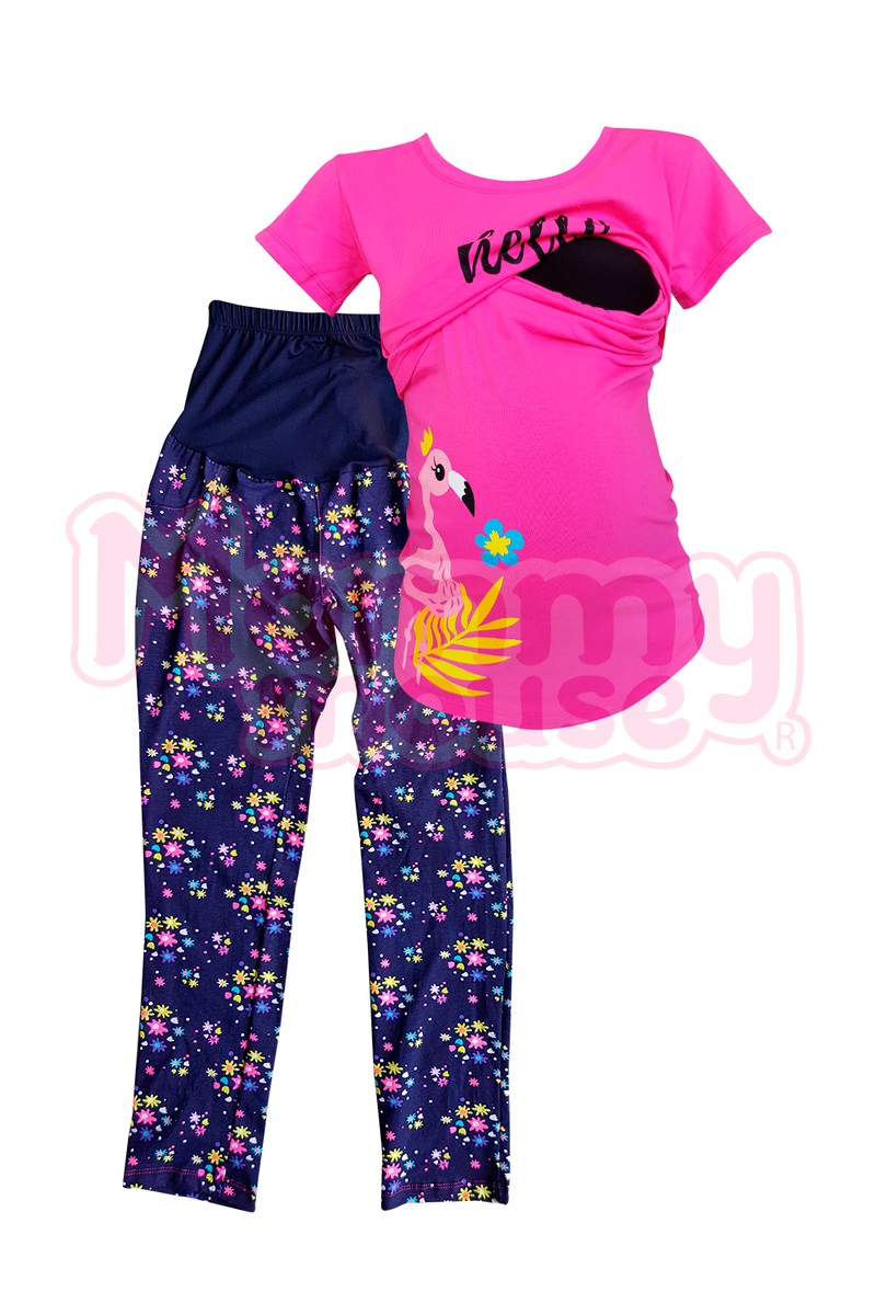 Pijama maternidad-lactancia mc. Hello Flamingo