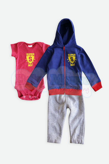 Set 3 pzas. Sudadera Super Boy