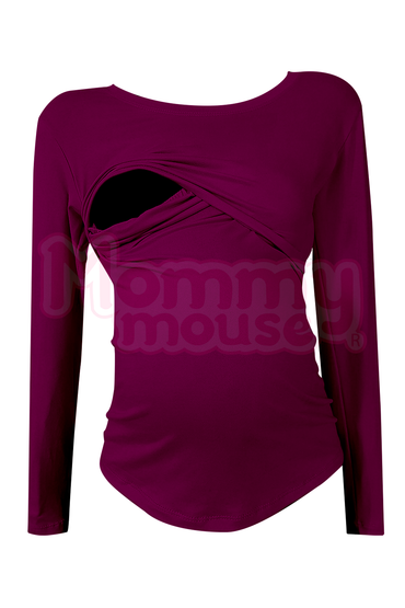 Blusa maternidad-lactancia Manga Larga. Grape