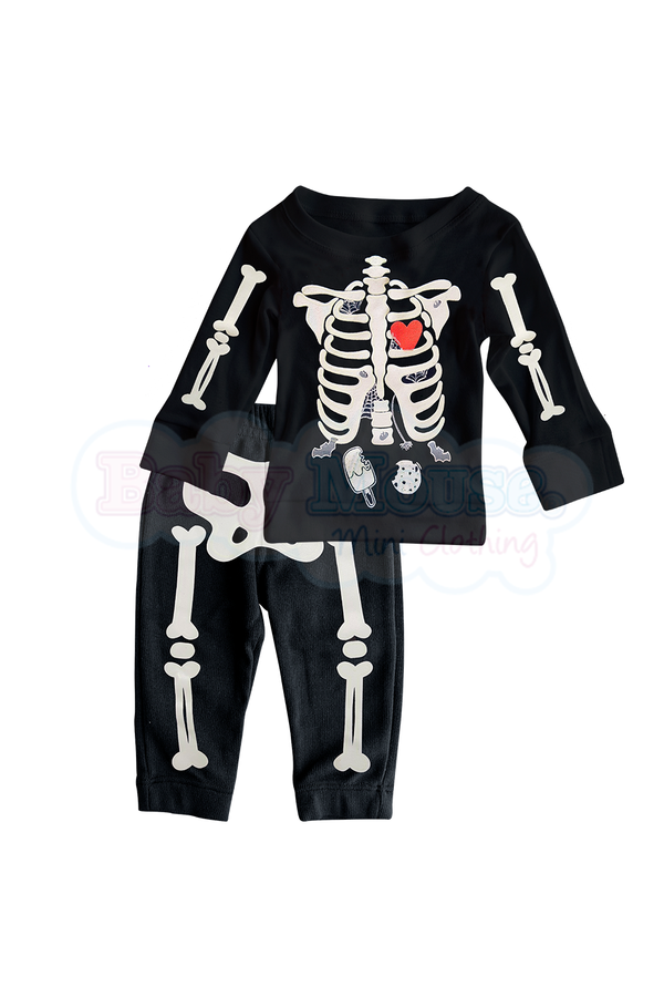 Conjunto Kids 2 Pzas ml Unisex. Huesitos brilla
