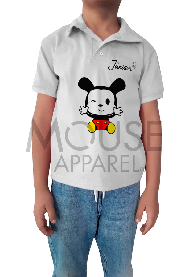 Playera tipo polo Bebé y Niño. Junior Mouse
