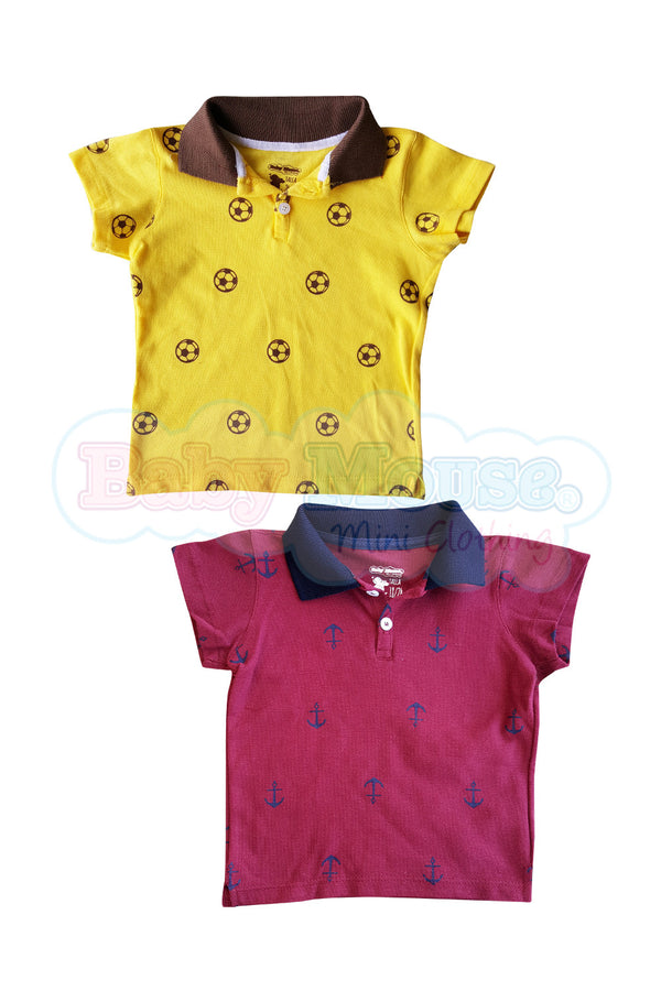 2 Pack.Playera bebé Tipo Polo. Amarillo/Marron