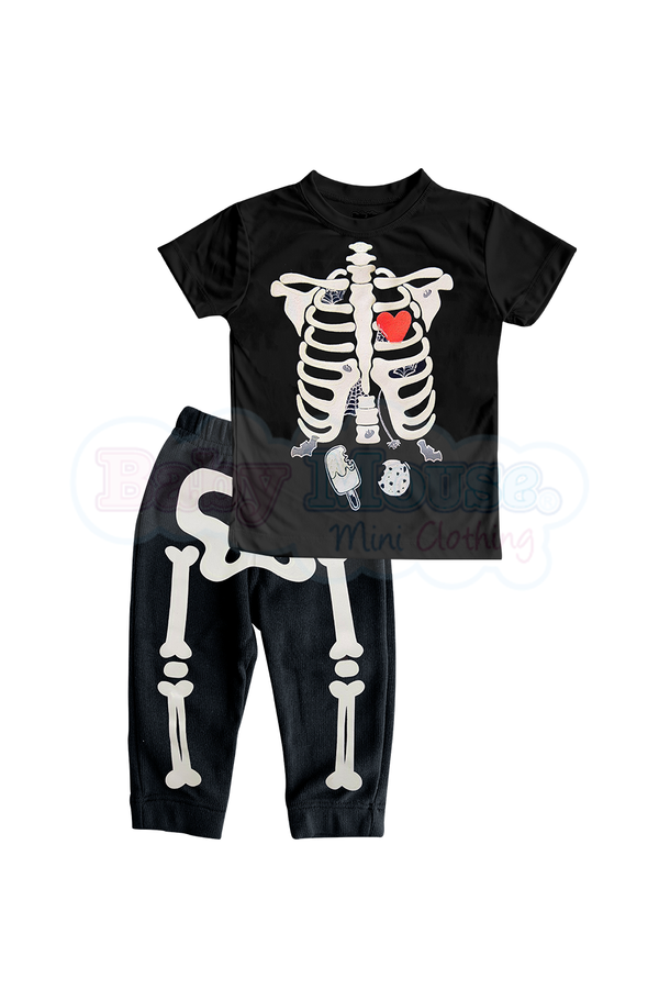 Conjunto Kids 2 Pzas mc Unisex. Huesitos brilla