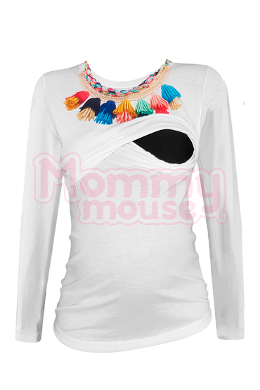 Blusa maternidad-lactancia Manga Larga. Estambre multicolor