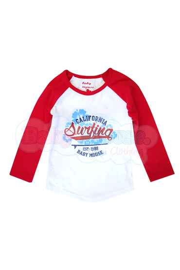 Playera Ranglan Kids. California Surfing.