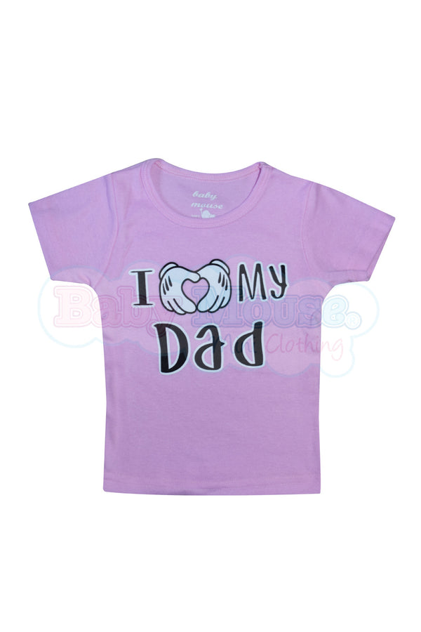 Playera Kids. I love dad Mouse Niña