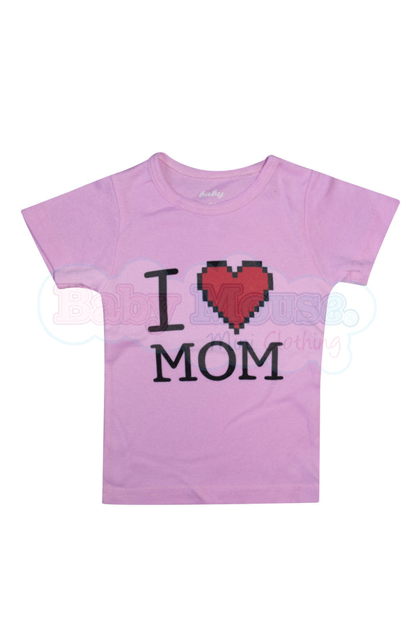 Playera Kids. I love mom pixeles niña