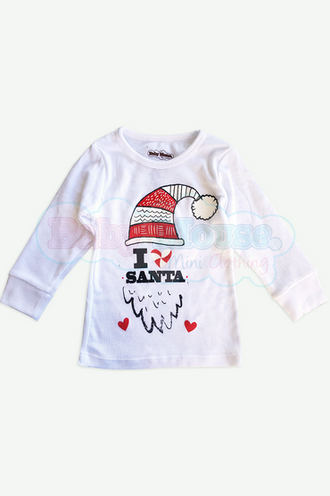 Playera Kids Manga Larga Unisex. I love Santa