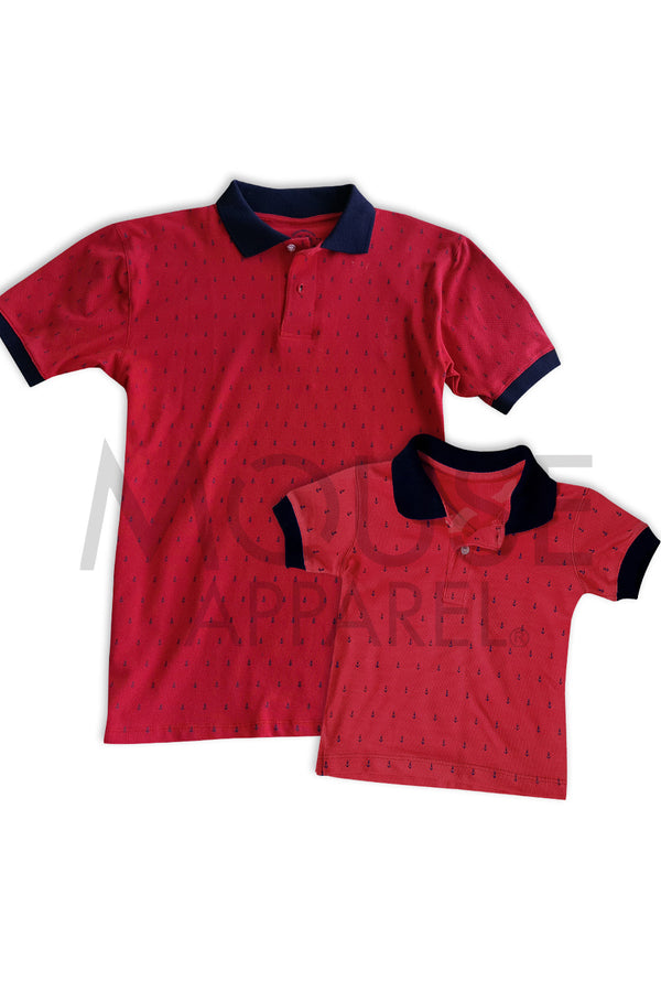 Set- Tipo polo anclas Rojo