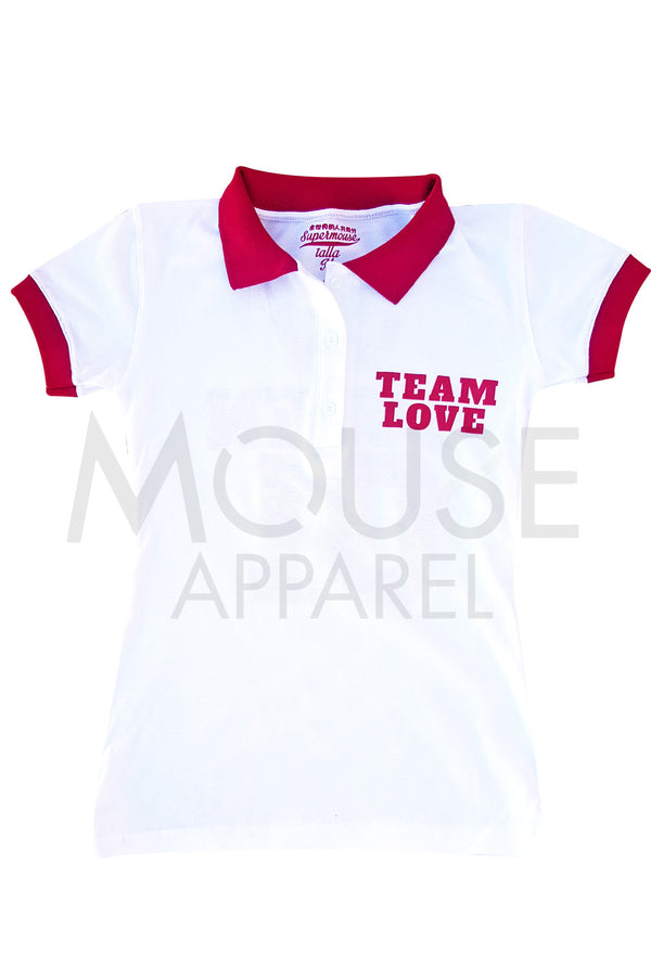Playera Dama tipo polo . Team Love