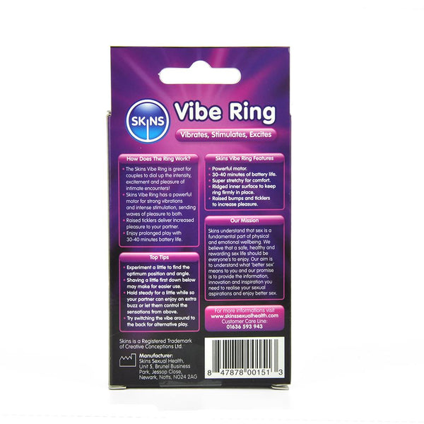 Vibe ring from the back with instructions