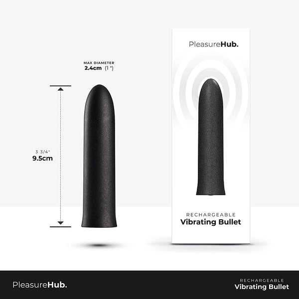 PleasureHub RECHARGEABLE VIBRATING BULLET 95mm (Black)