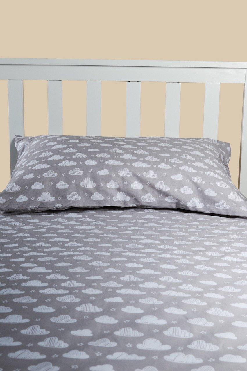 Grey Cloud Pillow Case and Weighted Blanket Set