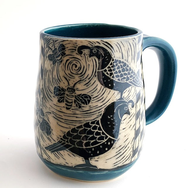 Mug - Quail and Bees in Teal Blue