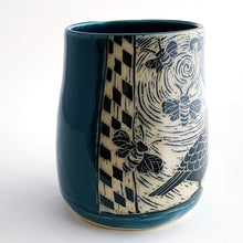 Load image into Gallery viewer, Mug - Quail and Bees in Teal Blue