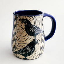 Load image into Gallery viewer, Mug - Two Quail and a Bee in Cobalt