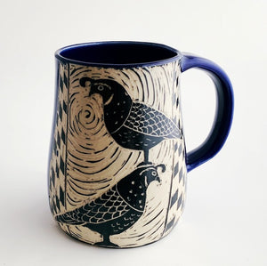 Mug - Two Quail and a Bee in Cobalt