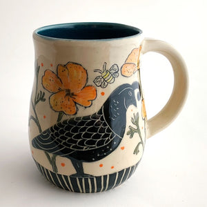 Mug - California Mug - Quail, Bees, and Poppies