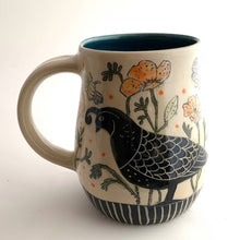 Load image into Gallery viewer, Mug - California Mug - Quail, Bees, and Poppies