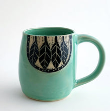 "Load image into Gallery viewer, Celadon - Leafy ""Woodcut"" Mug"