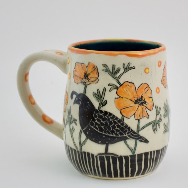 Made-to-Order Mug: California Mug - Quail and Poppies
