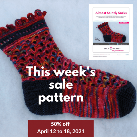 Almost Saintly Sock pattern by Lucy Neatby