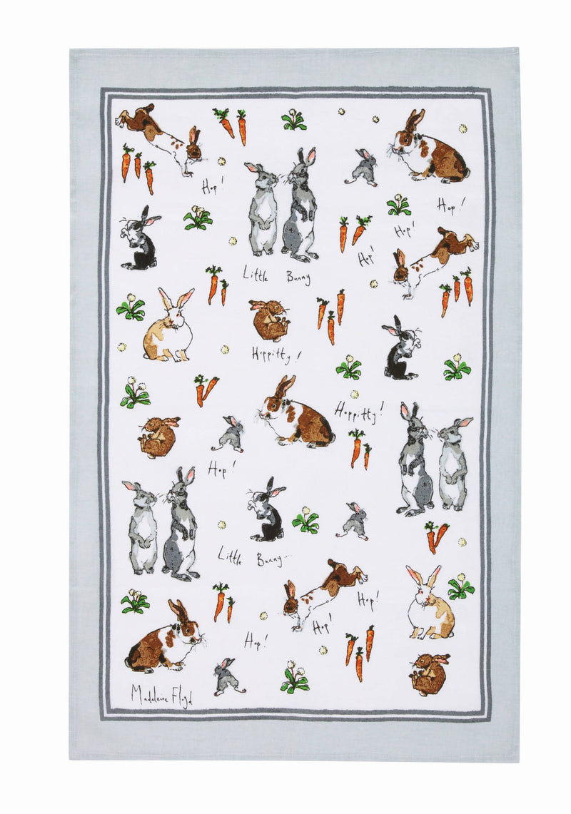 Ulster Weavers Madeleine Floyd Hippety Hoppety Bunnies Cotton Tea Towel